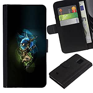 EuroCase - Samsung Galaxy S5 Mini, SM-G800, NOT S5 REGULAR! - Mystical Tree - Cuero PU Delgado caso cubierta Shell Armor Funda Case Cover