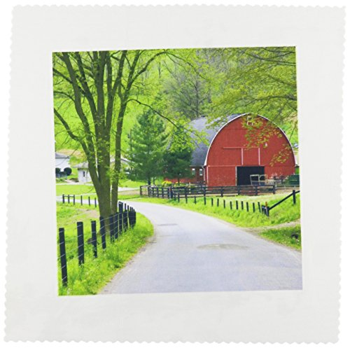 3dRose qs_93372_1 Red Barn and Farm House Near Berlin, Ohio US36 DFR0019 David R Frazier Quilt Square, 10 by 10-Inch