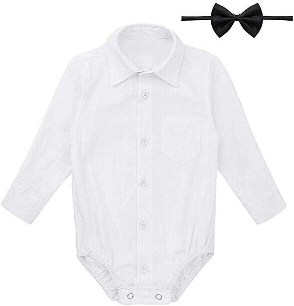 Seringlings Ropa de bebé Verano Moda Infantil Color sólido Manga Larga Camisa de algodón + Pajarita de Dos Piezas Linda Ropa Blanca: Amazon.es: Ropa y accesorios