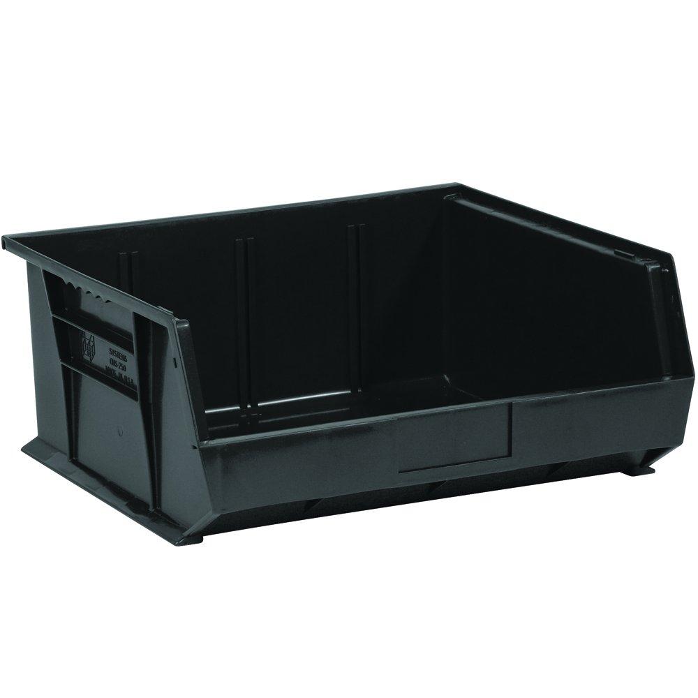 Aviditi BINP1516K Plastic Stack and Hang Bin Boxes, 14 3/4'' x 16 1/2'' x 7'', Black (Pack of 6)