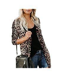 FUNOC Women's Button Down Leopard Print Jacket Outwear Blouse Vneck Long Sleeve