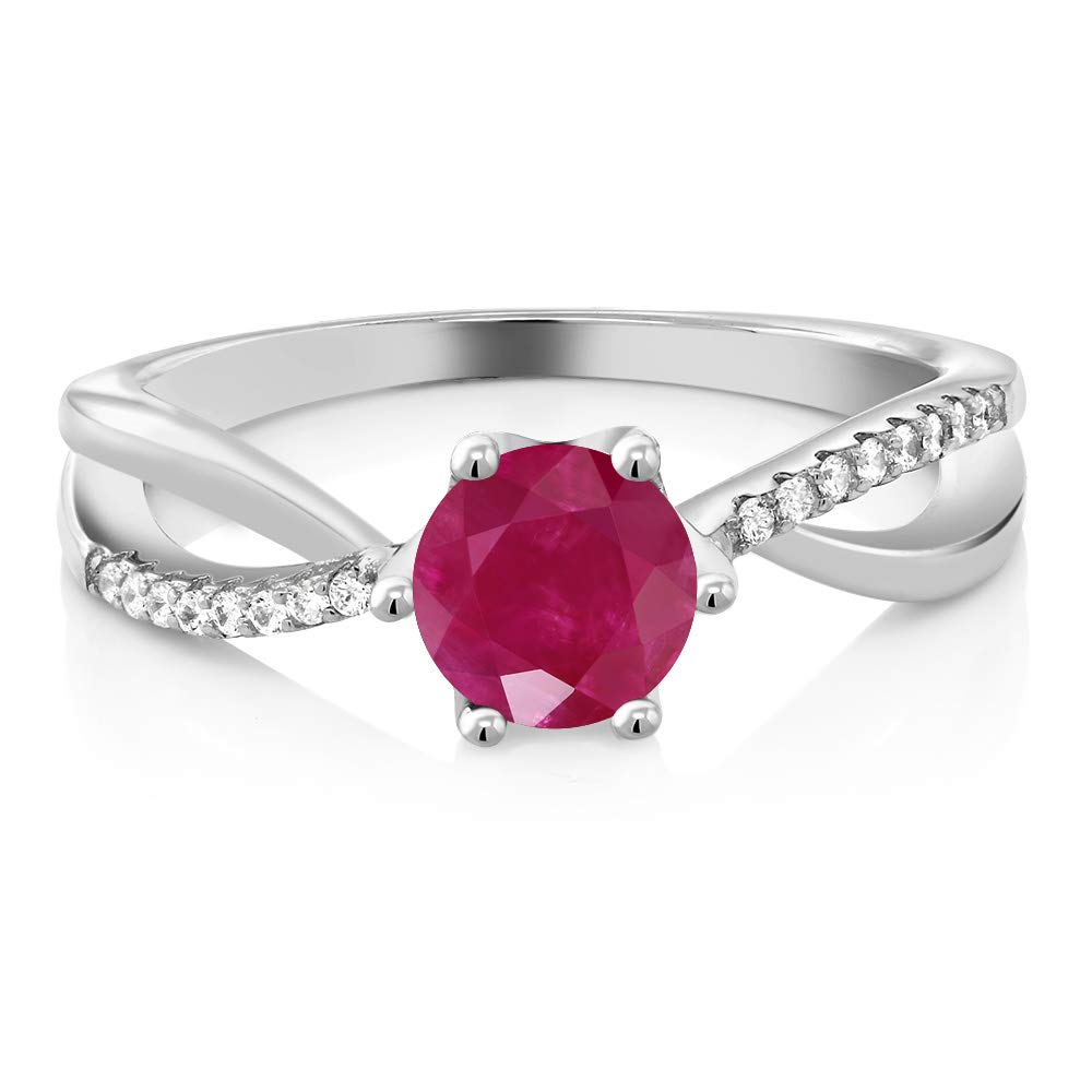 Gem Stone King Red Ruby Gemstone Birthstone 925 Sterling Silver Women s Ring 1.24 Cttw Round Available 5,6,7,8,9