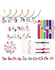 60 Pcs Unicorn Party Favors, Rainbow Unicorn Necklace, Bracelets, Rings, Keychains, Hairpin, Toys Prizes Gifts for Kids, Birthday Party Supplies, Toys Decoration Novelty Gift for All Ages