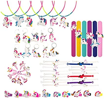 60 Pcs Unicorn Party Favors, Rainbow Unicorn Necklace, Bracelets, Rings, Keychains, Hairpin, Toys Prizes Gifts for Kids, Birthday Party Supplies,...