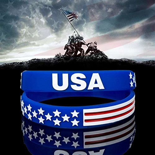 (Sainstone USA Silicone Bracelets Wristbands (2 Pcs) American Spirit Americanism Partriotic Sports Fans Worldcup Holiday Gift United States American Flag Red White and Blue Bracelet July 4th (1 Pair))