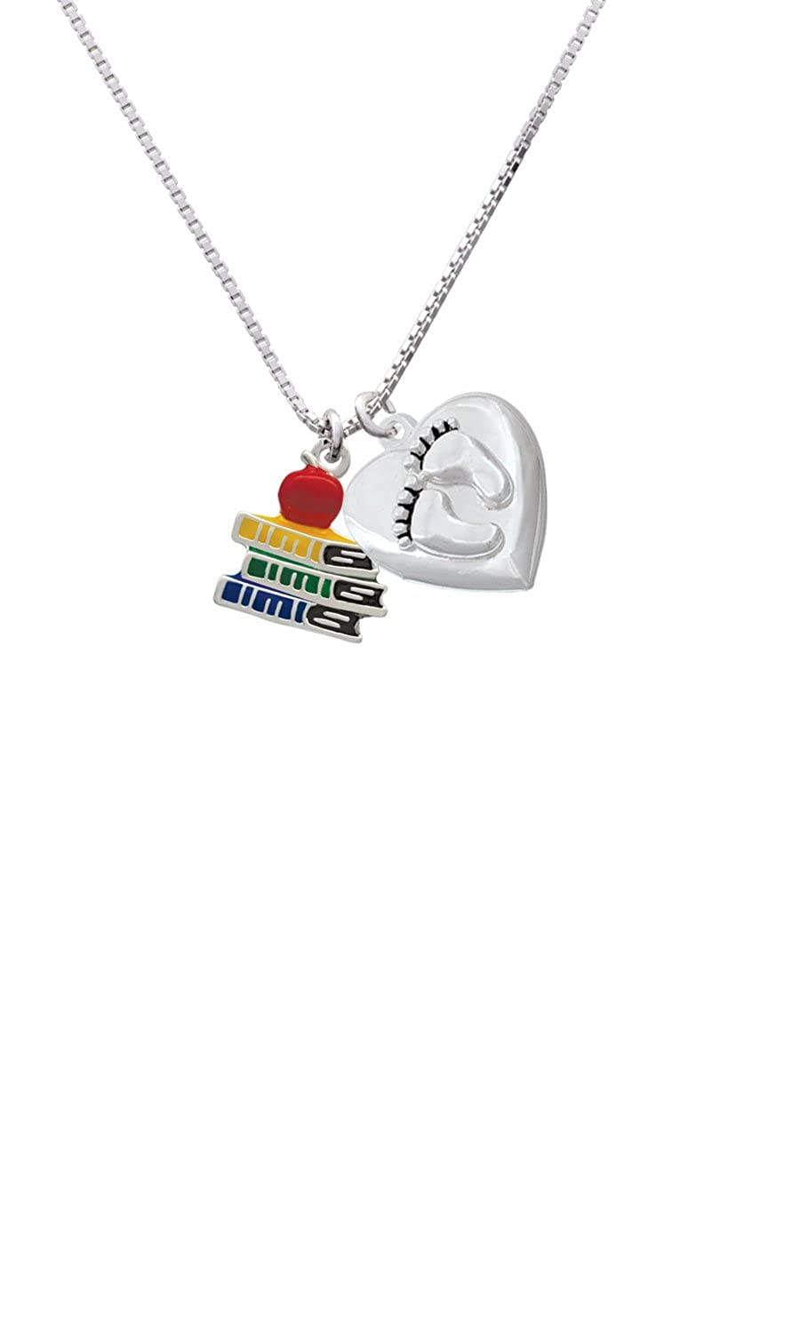 Enamel School Books with a Red Apple Custom Engraved Baby Feet Heart Locket Necklace