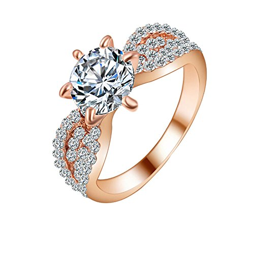 (Silver Elegant Flower Engagement Ring with Clear Fine Jewelry Gift for Women Size 6-10 (Rose Gold -3, 9))