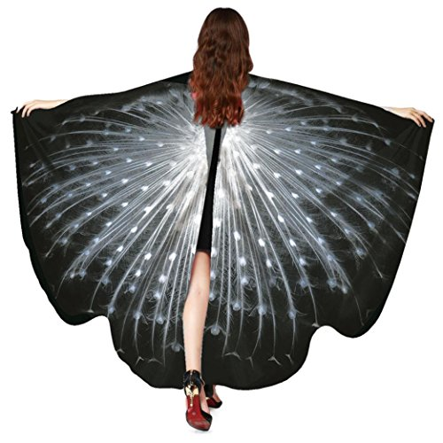 Mchoice Women Peacock Wings Shawl Scarves Ladies Nymph Pixie Poncho Costume Accessory (Female Peacock Costume)