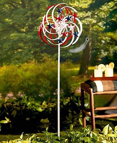 - The Lakeside Collection Double-Spiral Solar Spinner- Patriotic