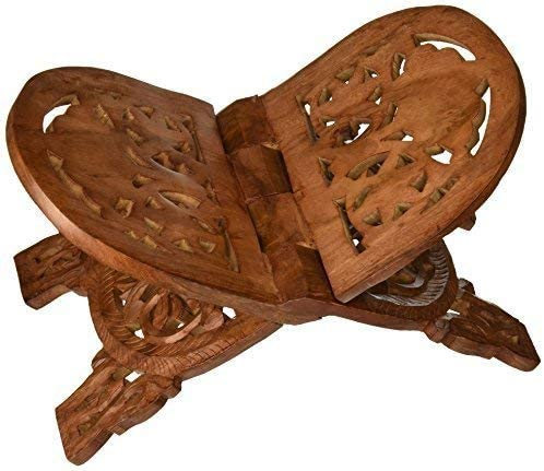 Artisans Of India Christmas Thanksgiving Gifts Folding Religious Prayer Book Holder Display Stand Wooden Hands Free Reading Stand with Intricate Carvings 10 x 7.5 x 7 inches