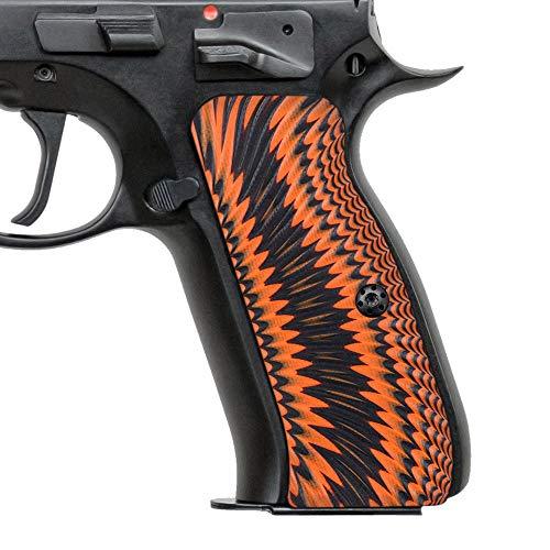 Cool Hand G10 Grips for CZ 75 Full Size, Sunburst Texture, Brand, Orange/Black, H6-J6-34