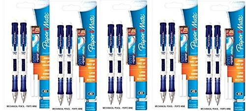 Paper Mate Clear Point Mechanical Pencils 10-Count, with 5 Packs of lead and 10 Eraser Refills, Colors May Vary
