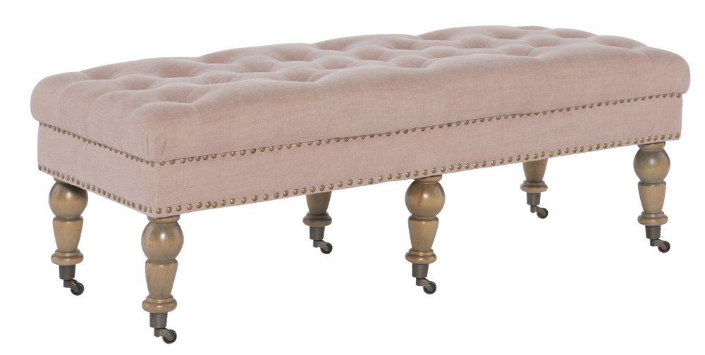 Linon Isabelle Washed Linen Bench, 50'', Pink by Linon (Image #3)