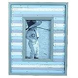 "Beach Cabin Hut Photo Frame Blue/White/Grey Stripes Picture Size: 11x16cm/4x6"""