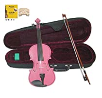 Merano MV300PK 3/4 Size Pink Violin with Case and Bow+Extra Set of String, Extra Bridge, Rosin