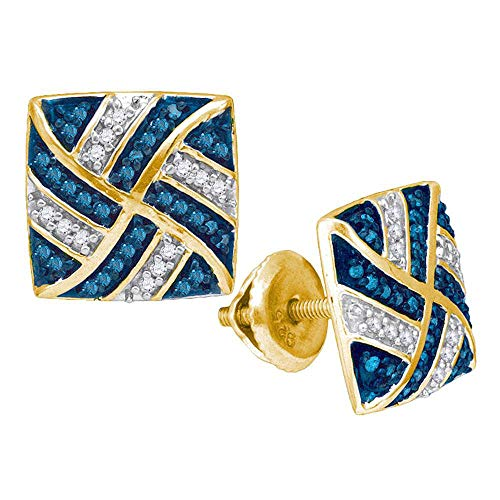 The Diamond Deal 10kt Yellow Gold Womens Round Blue Color Enhanced Diamond Square Pinwheel Cluster Earrings 1/4 ()