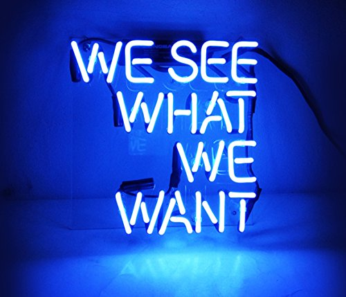 Cool Beer Neon Sign Blue Room Decor 'We See What We Want' Led Lamp Light for Home Beer Pub Billards Hotel Beach Cocktail Recreational Game Room 9.4