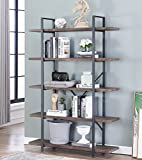O&K Furniture 5-Tier Industrial Style Bookshelf, Wood and Metal Bookcases Furniture, 70'' H Gray- Brown