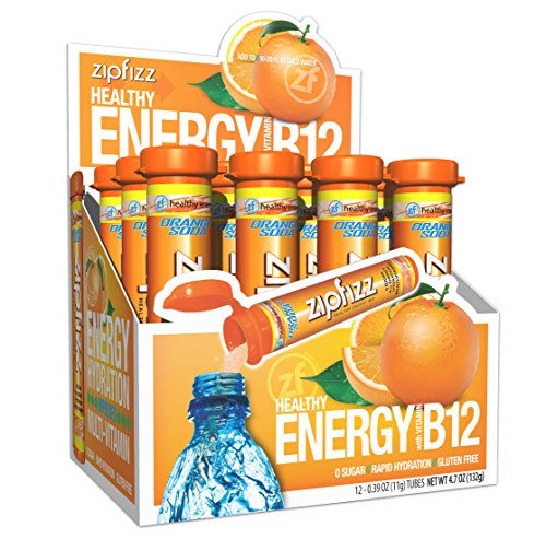 Zipfizz Healthy Energy Drink Mix, Hydration with B12 and Multi Vitamins, Orange Soda, 12 Count ()