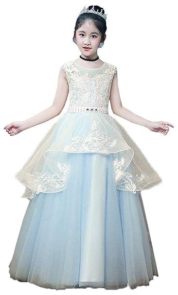 Amazon.com: Vestido de encaje para niña con diseño de flor ...