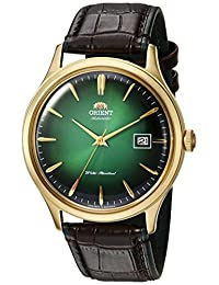 Orient Men's 'Bambino Version 4' Japanese Automatic Stainless Steel and Leather Dress Watch, Color:Black (Model: FAC08002F0)