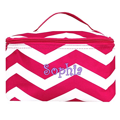 Personalized Hot Pink Chevron Small Cosmetic Makeup Bag
