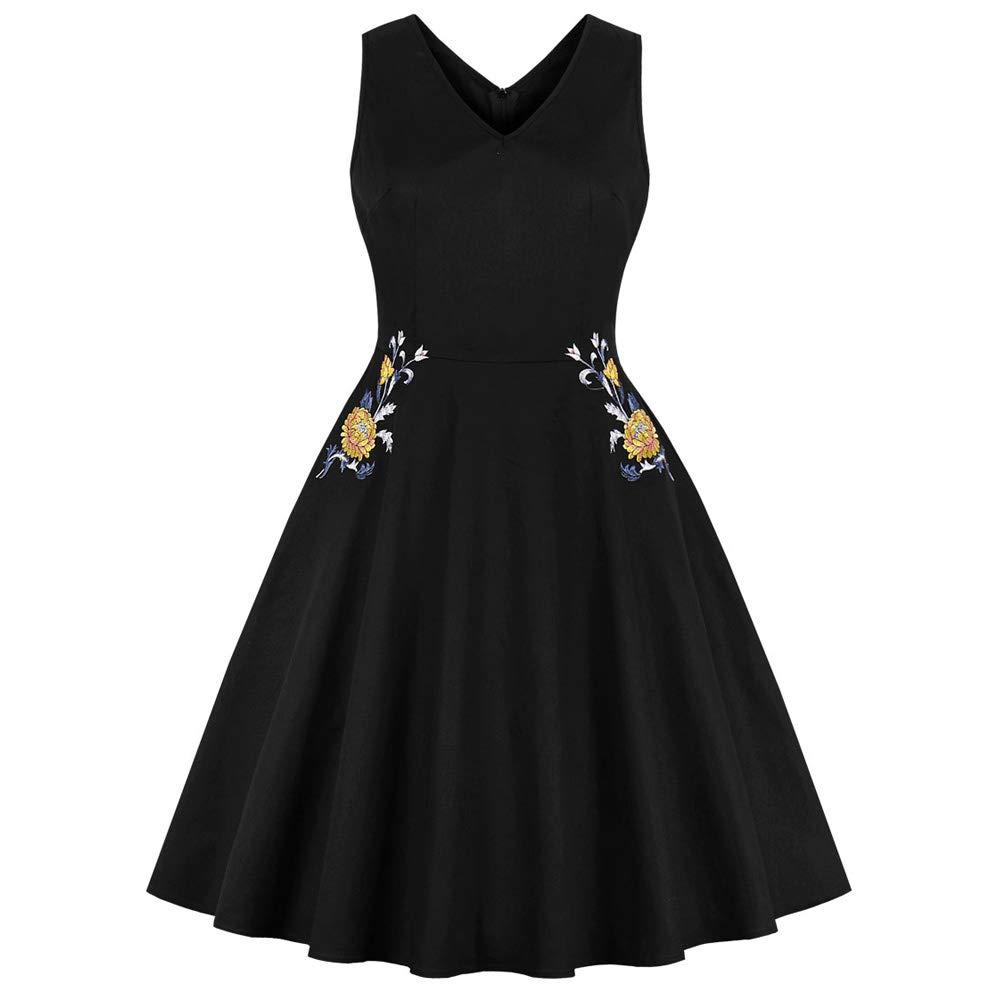 Black FUZHUANGHM 60S Vintage Dress Sexy V Neck Sleeveless Summer Embroidery Retro Women Dresses