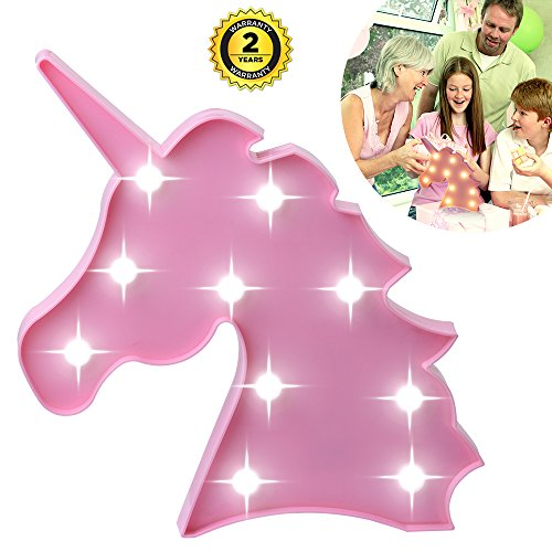 Unicorn Night Light, Lamp Kids Marquee Letter Lights Unicorn Shape Signs Light Up Party Wall Decoration Battery Operated Children Night lamp, Baby Nursery Lamp Bedroom Light ()