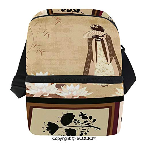 (SCOCICI Reusable Insulated Grocery Bags Cute Girl in Traditional Dress and Cultural Patterns Ornaments Antique Eastern Collage Thermal Cooler Waterproof Zipper Closure Keeps Food Hot Or Cold)
