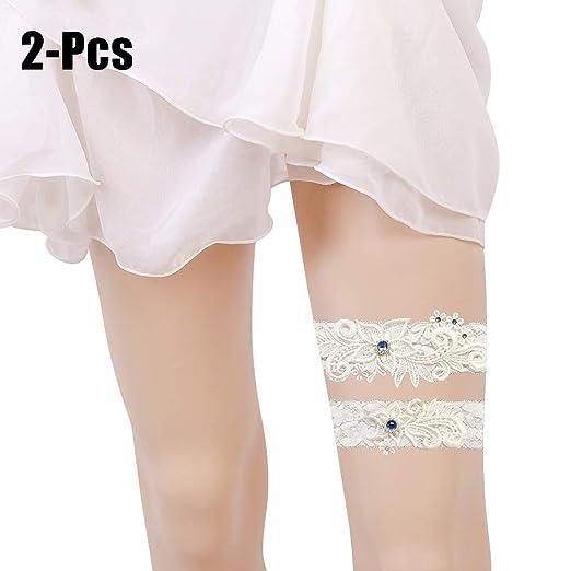 311d8e62224 Amazon.com  Fascigirl 2PCS Wedding Garter Fashion Rhinestone Decor Lace  Bridal Garter Wedding Garter Belt for Bride Off White  Clothing