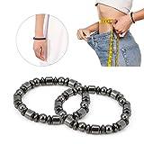 Magnet Bracelet,2Pcs Unisex Stylish Weight Loss Black Stone Bracelet Health Care Magnetic Bracelet Women Men Gifts for Parents Friends