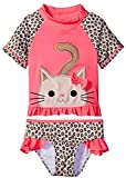 Wippette Baby Toddler Girls' Cheetah Print Rashguard Set, Knock Out Pink, 2T