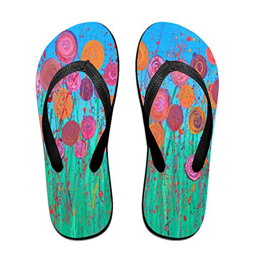Cocoa trade Flip-Flops Abstract Flowers PaintingNon-Slip Open Toe Slim Beach Slippers for Youth Size:L