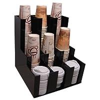 Verticle Dispensador de taza de café y soporte de tapa Agitador de condimentos, Organizador de taza de azúcar Organice y exhiba su mostrador de estaciones de café con estilo 3wx3d (1008)