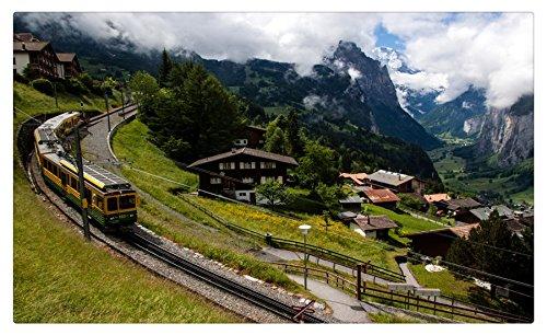- Switzerland Scenery Houses Mountains Trains Railroads Lauterbrunnen Cities travel sites Postcard Post card