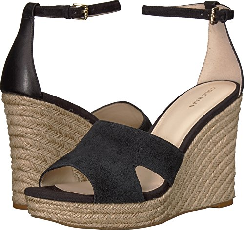 Cole Haan Womens Giselle High Espadrille Wedge Black Suede/Leather 10 B (M)
