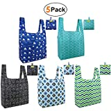 grocery-totes-bags-shopping-reusable-bags 5 pack with pouch Ripstop washable foldable bag Durable and Lightweight