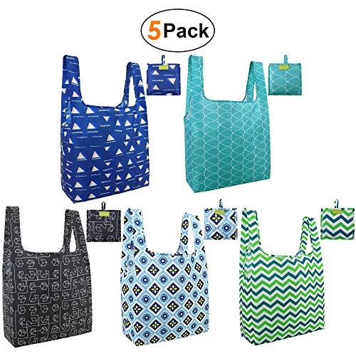 BeeGreen Grocery-Totes-Bags-Shopping-Reusable-Bags 5 Pack with Pouch Grocery Bags Cloth Reusable Bags Ripstop Washable Foldable Bag Large Durable Lightweight Green Black Teal Blue Navy