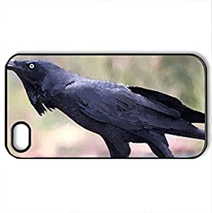 black bird - Case Cover for iPhone 4 and 4s (Birds Series, Watercolor style, Black)