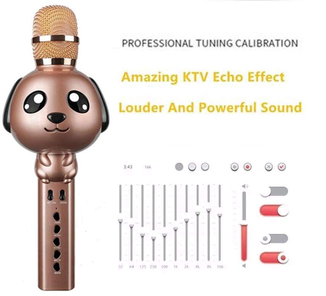 Wireless Karaoke Microphone for Kids Bluetooth Mic Portable Handheld Karaoke Machine for Kids Singing KTV Parties Boys Girls Parties Christmas or Birthday Gifts Toys iPhone Android PC (Rose Gold) by Rhllxzo (Image #3)