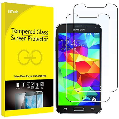 JETech Screen Protector for Samsung Galaxy S5, Tempered Glass Film, 2-Pack (Best Screen Protector For Galaxy S5)