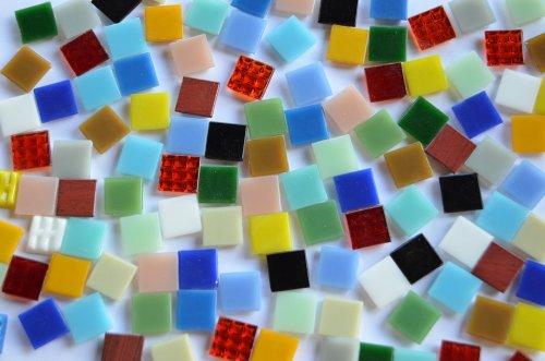 500 Gramm Glas Mosaiksteine 1,5x1,5 cm Buntmix ca. 330 St.