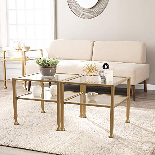 Southern Enterprises Jaymes Glass Bunching Cocktail Coffee Table, gold