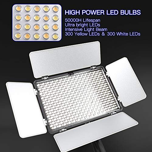 LED Video Light, SAMTIAN Dimmable Bi-Color 600 LED Studio Lights Lighting Kit: 3200K-5600K LED Panel Light with Barndoor, 2M Light Stand Carry Bag for YouTube Studio Photography Video Shooting by SAMTIAN (Image #6)