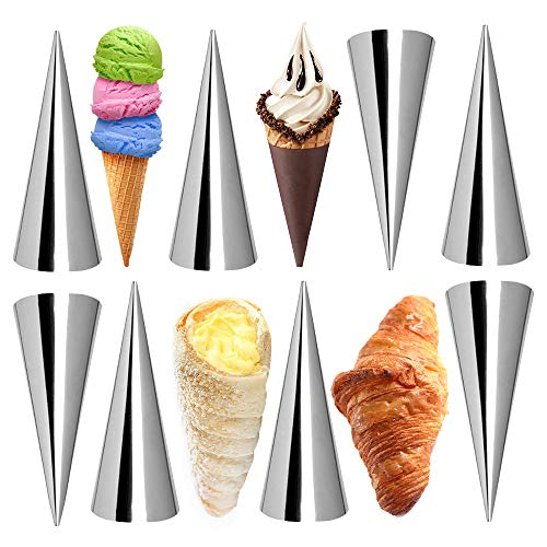 Kslong Cream Horn Molds 12pcs Large Size Baking Cones Stainless Steel Roll Horn Forms Conical Danish Pastry Croissant Cones Moulds