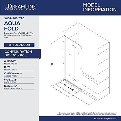 Dreamline Aqua Fold 33 5 In Width Frameless Hinged