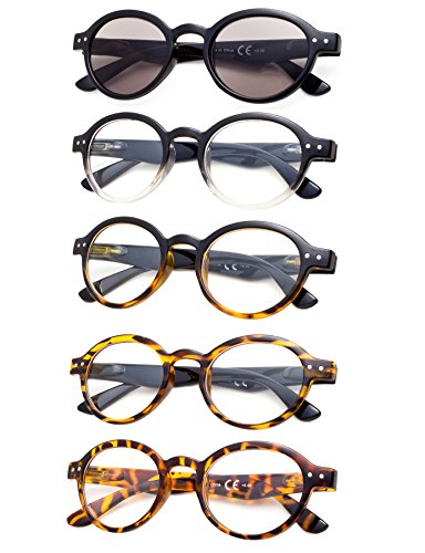 5-Pack Round Retro Reading Glasses with Spring Hinges Include Sun Readers