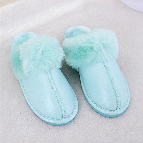 mhgao Ladies Casual Otoño Invierno Felpa Zapatillas de algodón cálido zapatillas de piel sintética, verde, 39