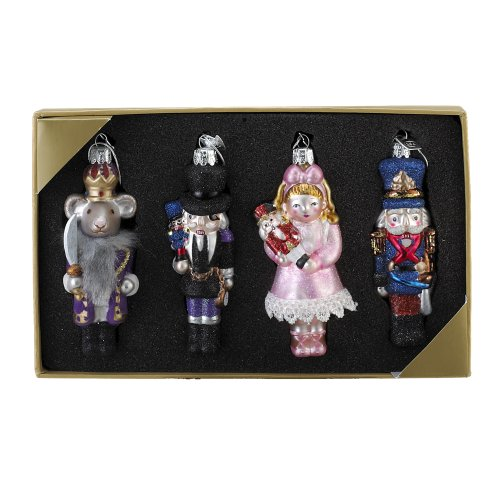 Kurt Adler Noble Gems Nutcracker Suite Ornament, 4-Inch - 4.25-Inch, Set of 4