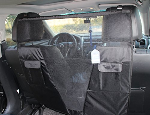 SCENEREAL Pet Dog Net Vehicle Barriers – Backseat Mesh for Cars Vehicles SUV Vans Trucks Adjustable Frontseat Belts Safe Durable